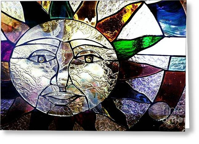 Table Glass Art Greeting Cards - Sun Face Greeting Card by Sherry Stone