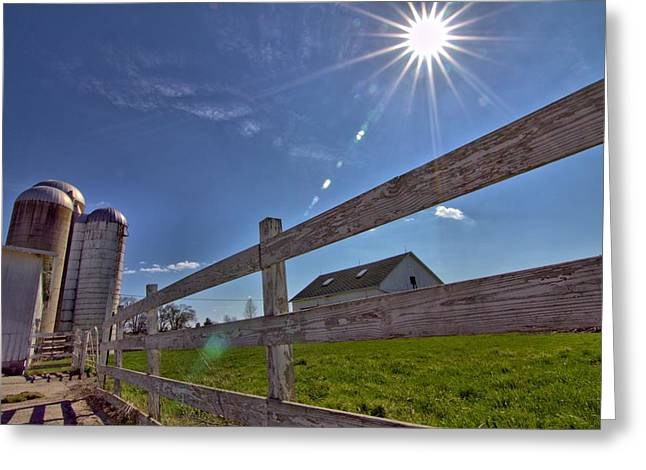 Summer On The Farm Greeting Cards - Sun Flare Farm Greeting Card by Dan Sproul