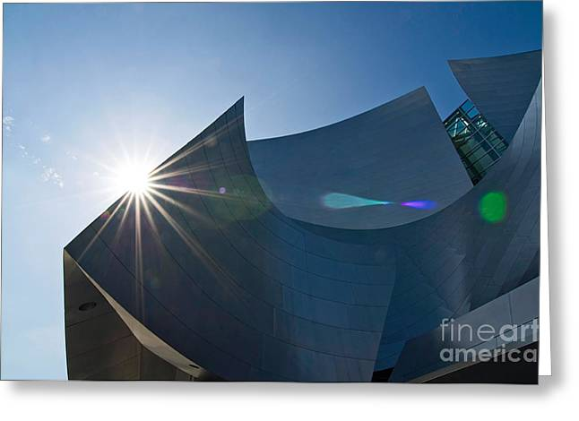 Sun Flare Over Walt Disney Concert Hall In Downtown Los Angeles Greeting Card by Jamie Pham