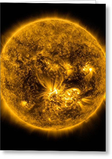 Plasma Greeting Cards - Sun Flares on the Sun Greeting Card by World Art Prints And Designs