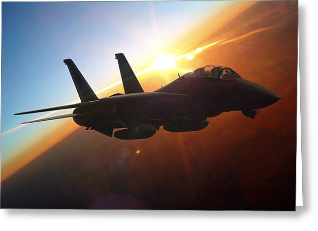 Military Aircraft Greeting Cards - Sun Flash Greeting Card by Dorian Dogaru