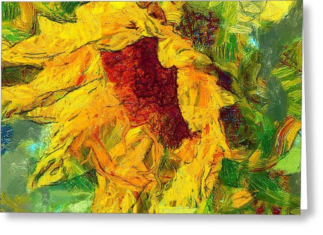 Interior Still Life Digital Greeting Cards - Sun Flower Aka Gogh 1 Greeting Card by Yury Malkov