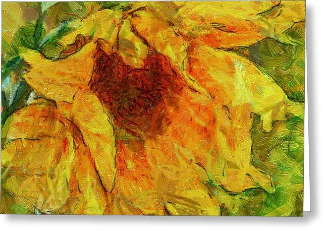 Interior Still Life Digital Greeting Cards - Sun Flower Aka Gogh 2 Greeting Card by Yury Malkov