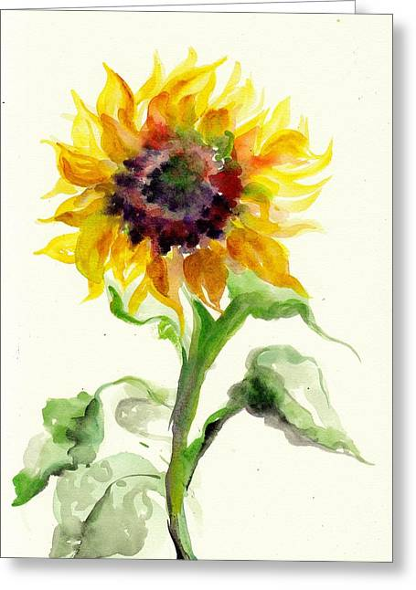 Sonne Greeting Cards - Sunflower Watercolor Greeting Card by Tiberiu Soos