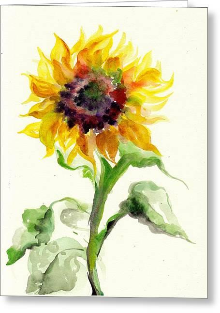 Sunflower Watercolor Greeting Card by Tiberiu Soos