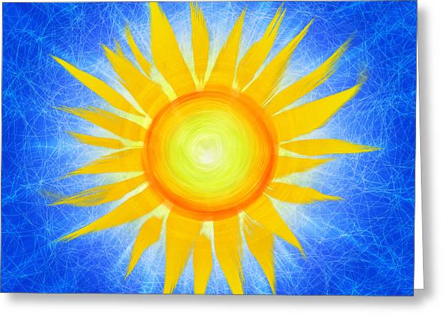 Radiates Greeting Cards - Sun Flower Greeting Card by Tim Gainey