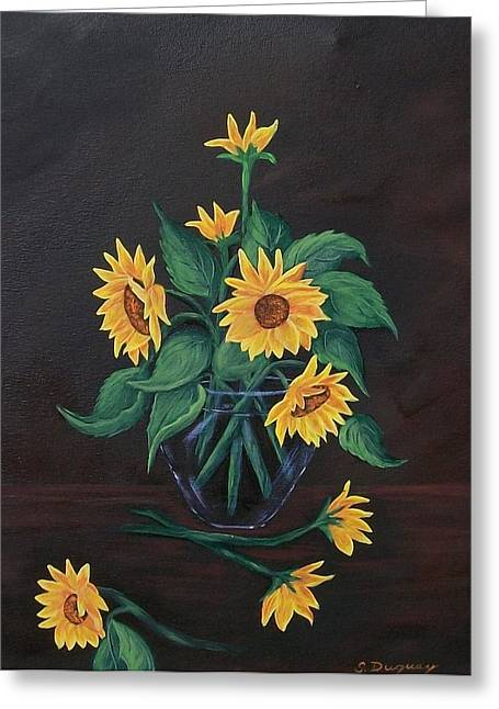 Glass Vase Greeting Cards - Sun Flowers  Greeting Card by Sharon Duguay