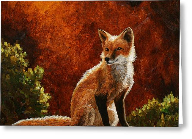 Sun Fox Greeting Card by Crista Forest