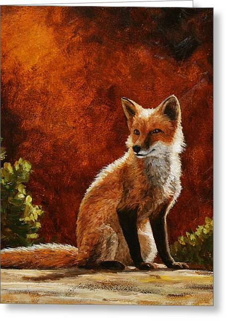 Fox Greeting Cards - Sun Fox Greeting Card by Crista Forest