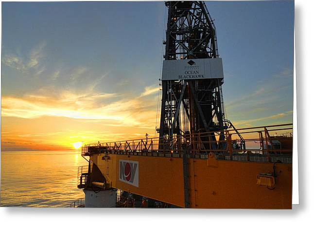 Drillship Greeting Cards - Sunset from the Ocean Blackhawk Greeting Card by TN Fairey
