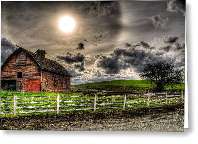Old Fence Greeting Cards - Sun Gazing upon an Old Barn Greeting Card by Derek Haller