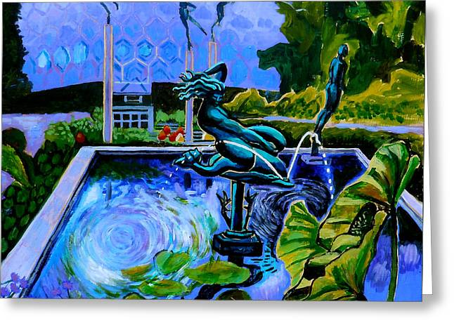 Turquoise Pastel Greeting Cards - Sun Glitter Mermaid At Missouri Botanical Garden Greeting Card by Genevieve Esson