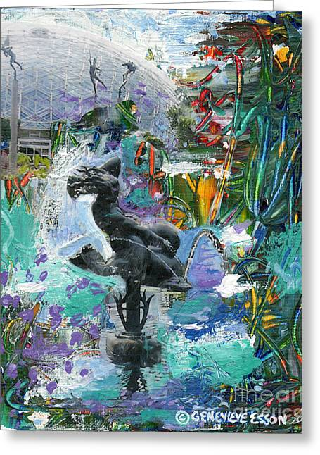 Garden Statuary Greeting Cards - Sun Glitter Mermaid Rides A Dolphin Greeting Card by Genevieve Esson