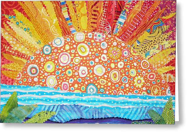 Orange Tapestries - Textiles Greeting Cards - Sun Glory Greeting Card by Susan Rienzo