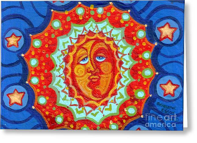 Twinkle Paintings Greeting Cards - Sun God Greeting Card by Genevieve Esson
