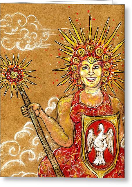 Sun Goddess Greeting Card by Suzan  Sommers