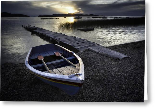Luna Greeting Cards - Sun goes down over lake Titicaca Greeting Card by Dirk Ercken