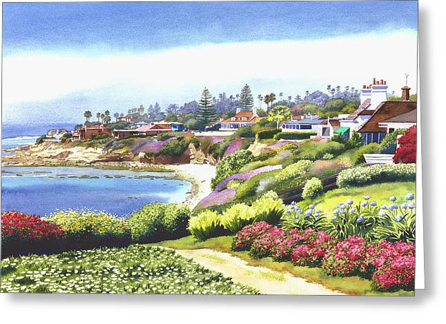 Southern Scene Greeting Cards - Sun Gold Point La Jolla Greeting Card by Mary Helmreich