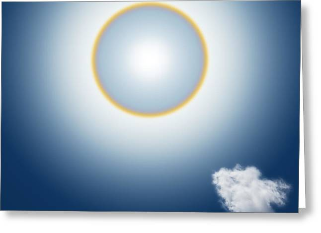 Haze Mixed Media Greeting Cards - Sun Halo Greeting Card by Atiketta Sangasaeng