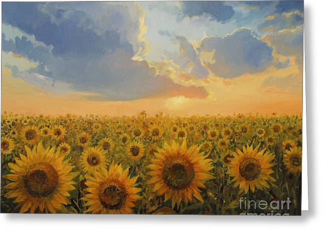Yellow Sunflower Greeting Cards - Sun Harmony Greeting Card by Kiril Stanchev