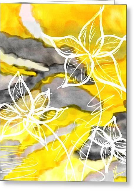 Yellow And Gray Abstract Greeting Cards - Sun In Spring Greeting Card by Lourry Legarde