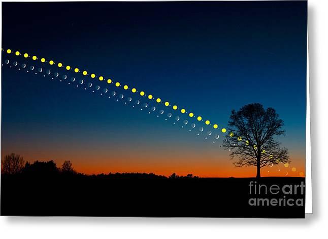 Sun And Tree Greeting Cards - Sun, Jupiter, Moon, And Venus Setting Greeting Card by Larry Landolfi