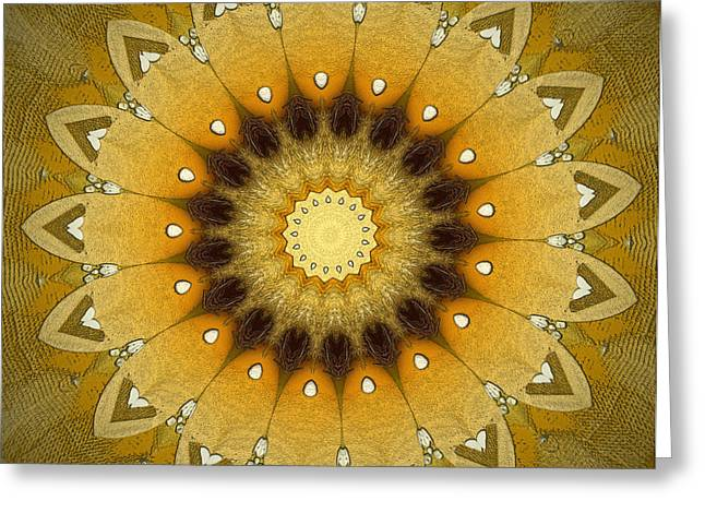 Geometric Design Greeting Cards - Sun Kaleidoscope Greeting Card by Wim Lanclus