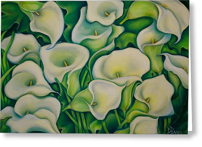 Bucci Paintings Greeting Cards - Sun Kissed Calla Lilies Greeting Card by Debra Bucci