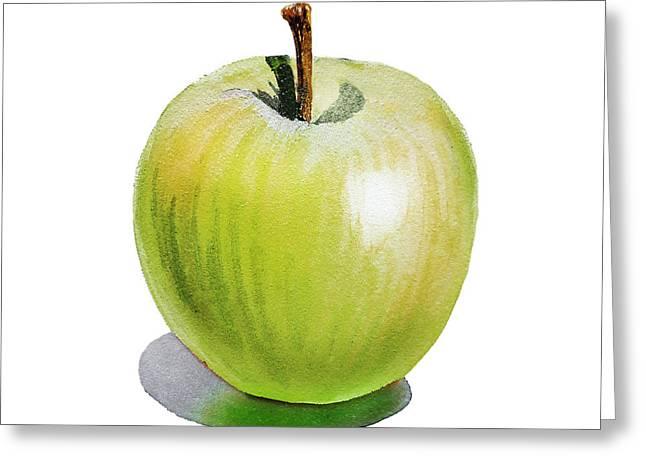 Sun Kissed Green Apple Greeting Card by Irina Sztukowski