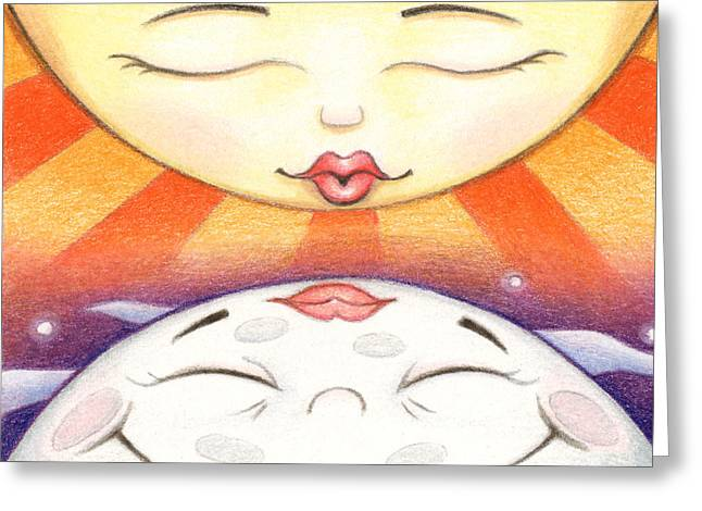 Atc Greeting Cards - Sun Kissed Moon - Large Format Greeting Card by Amy S Turner
