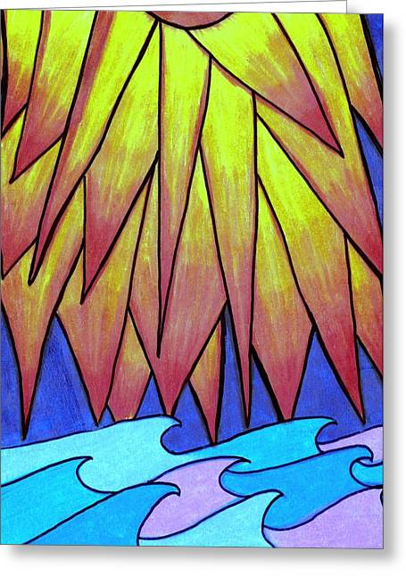 Waves Greeting Cards - Sun Kissed Waves Greeting Card by Geree McDermott
