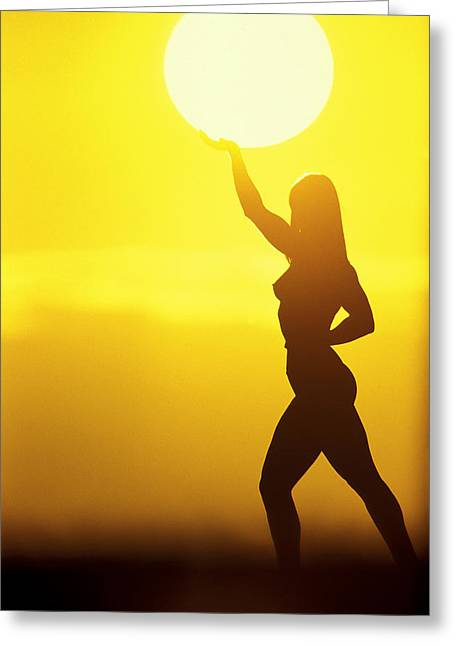 Bodybuilder Greeting Cards - Sun Lifter Greeting Card by Sean Davey