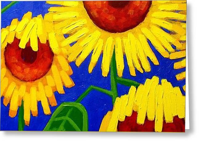 Yellow Sunflower Greeting Cards - Sun Lovers Greeting Card by John  Nolan