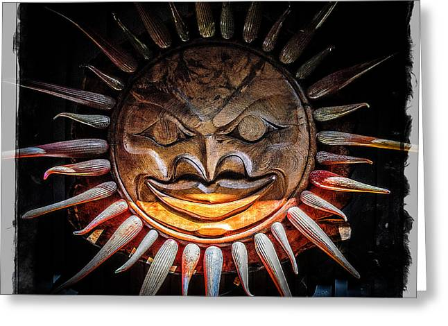 Sun Mask Greeting Card by Roxy Hurtubise