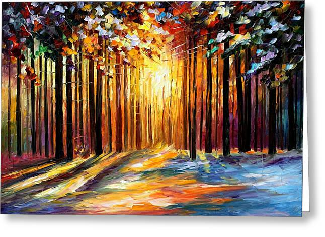 Oil Knife Greeting Cards - Sun Of January - PALETTE KNIFE Landscape Forest Oil Painting On Canvas By Leonid Afremov Greeting Card by Leonid Afremov