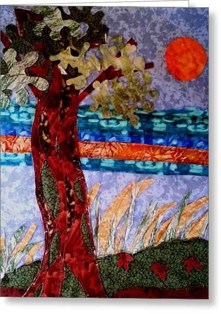 Print Tapestries - Textiles Greeting Cards - Sun over Arbutus work in progress Greeting Card by Nikki Dalton