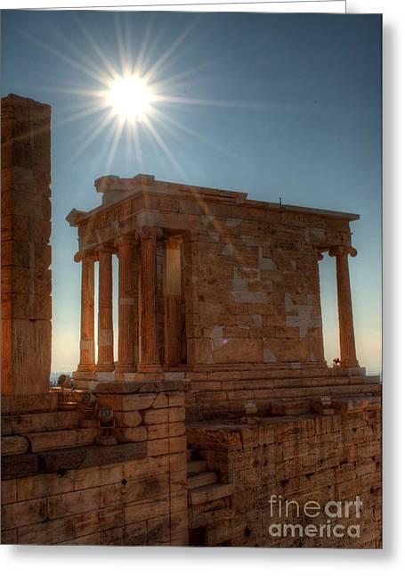 Nike Greeting Cards - Sun Over Athena Nike Temple Greeting Card by Deborah Smolinske