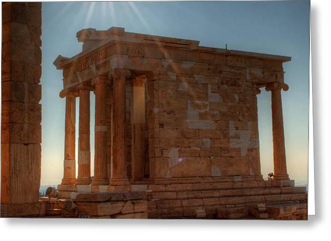 Sun Over Athena Nike Temple Greeting Card by Deborah Smolinske