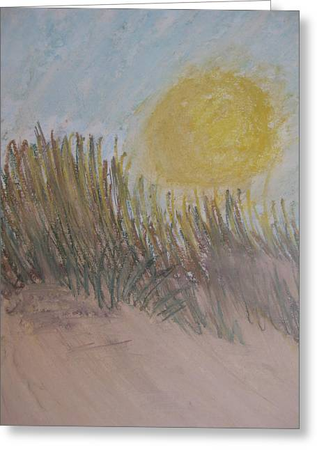 Sand Dunes Pastels Greeting Cards - Sun Over Dune Greeting Card by Kathleen Dunn