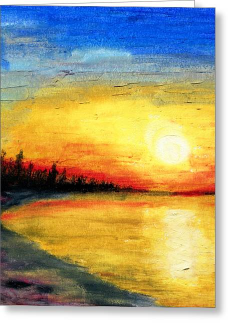Fir Trees Pastels Greeting Cards - Sun Over the Lake Greeting Card by R Kyllo