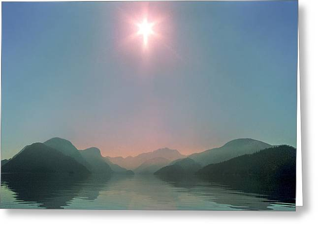 Queen Charlotte Strait Greeting Cards - Sun over Viner Sound Greeting Card by Geoffrey Ferguson