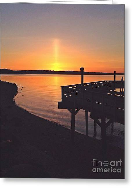 Sun Pillar Greeting Card by Sean Griffin