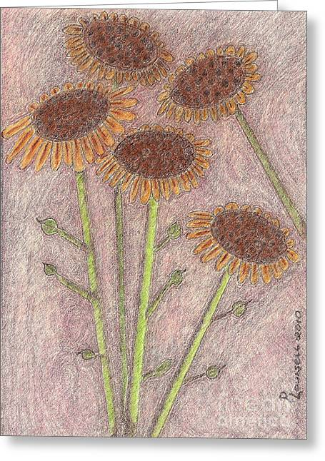 Rust Pastels Greeting Cards - Sun Pods In Bloom Greeting Card by Robyn Louisell