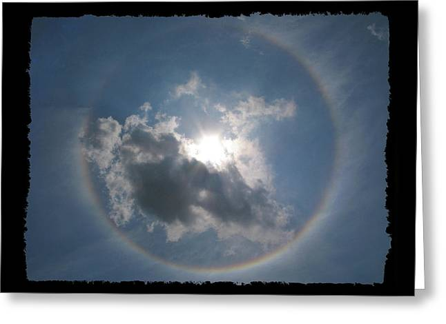 Ultraviolet Greeting Cards - Sun Portal  A rainbow around the sun with black border Greeting Card by Adam Long