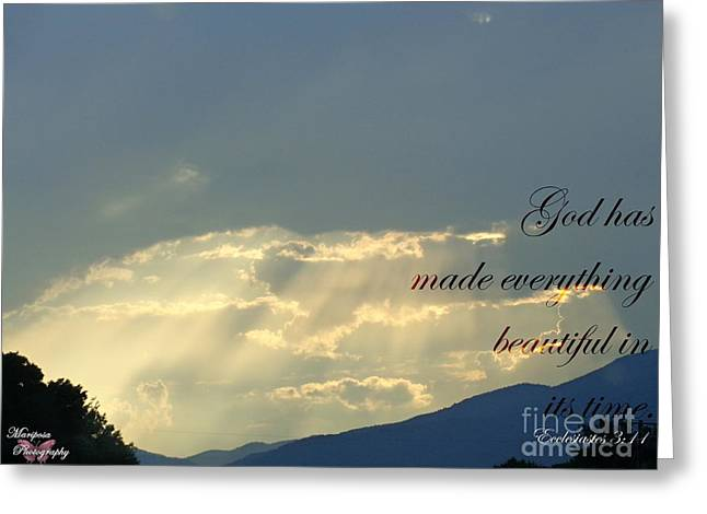 Sun Rays Ecclesiastes Chapter 3 verse 11 Greeting Card by Jannice Walker
