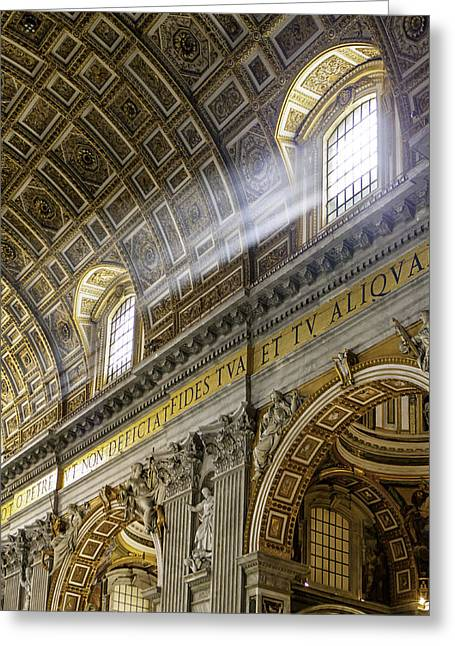 Domes Greeting Cards - Sun Rays in St. Peters Basilica Greeting Card by Susan  Schmitz