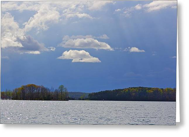 Vaction Greeting Cards - Sun rays on Smith Mt. Lake Greeting Card by Jennifer Lamanca Kaufman