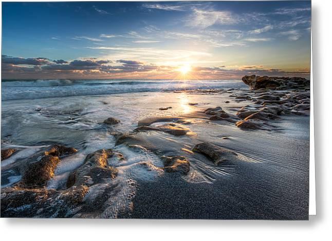 Sun Rays On The Ocean Greeting Card by Debra and Dave Vanderlaan