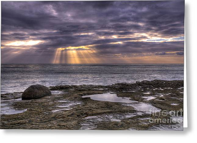 Hdr Landscape Greeting Cards - Sun Rays On The Ocean Greeting Card by Eddie Yerkish