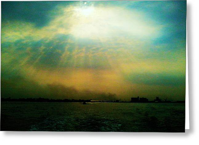 Light Blue Tapestries - Textiles Greeting Cards - Sun Rays Greeting Card by Sivaanan Balachandran
